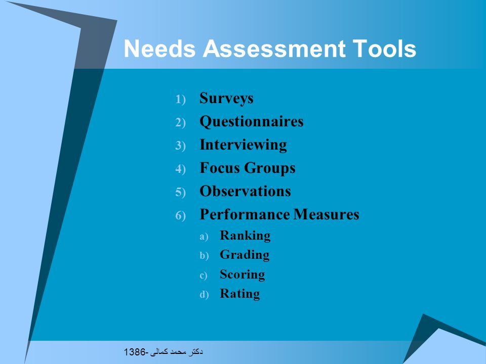 Three-Phase Plan for Conducting a Needs Assessment Phase 1 - Pre-assessment (exploration) Phase 2 - Assessment (data gathering) Phase 3 - Post-assessm