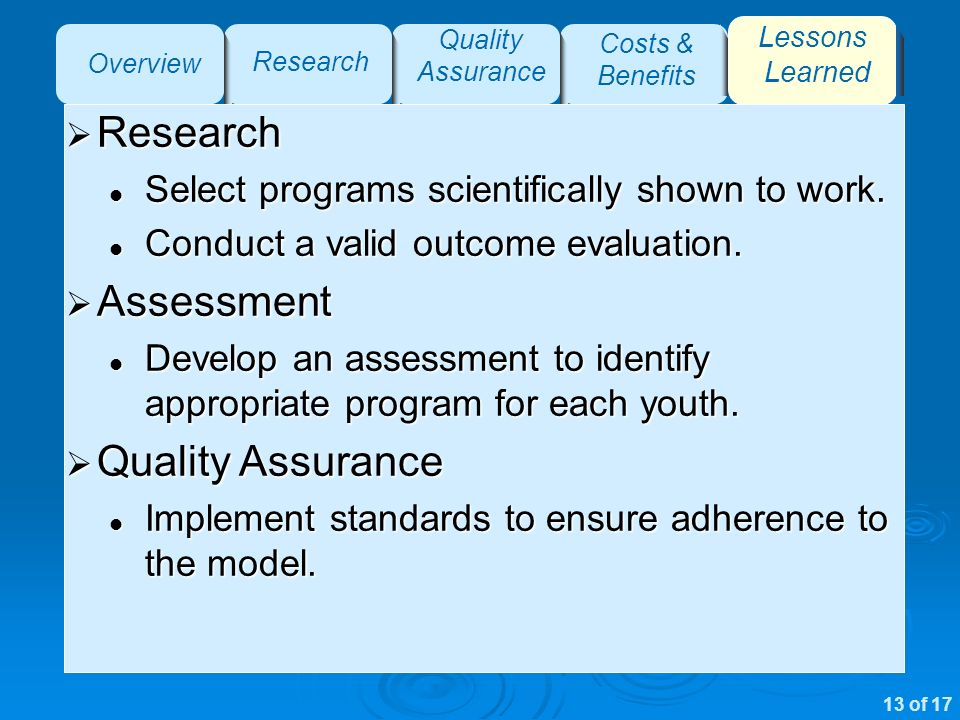 Overview Research Quality Assurance Costs & Benefits Lessons Learned Research Research Select programs scientifically shown to work.