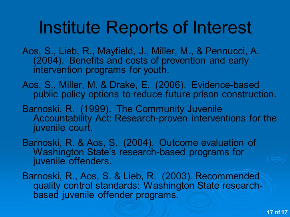 Institute Reports of Interest Aos, S., Lieb, R., Mayfield, J., Miller, M., & Pennucci, A.
