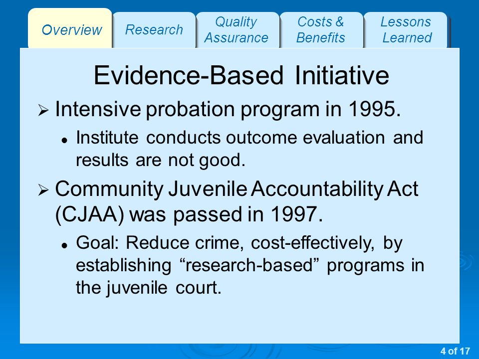 Overview Research Quality Assurance Costs & Benefits Lessons Learned Evidence-Based Initiative Intensive probation program in 1995.