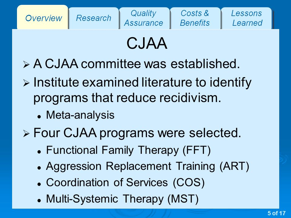 Overview Research Quality Assurance Costs & Benefits Lessons Learned CJAA A CJAA committee was established.