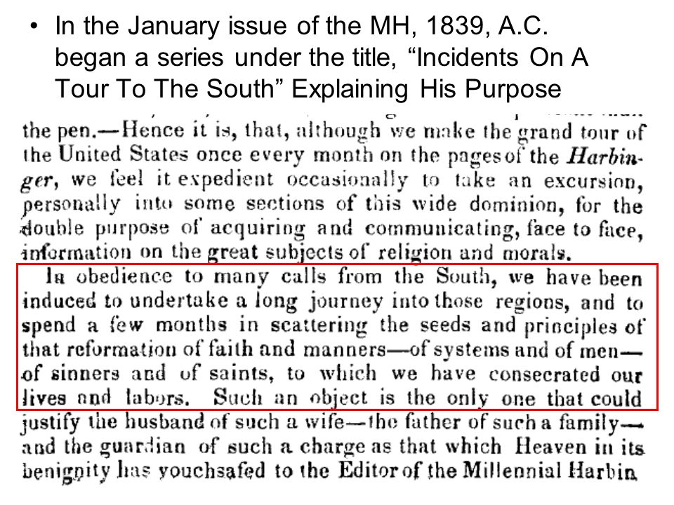 In the January issue of the MH, 1839, A.C.