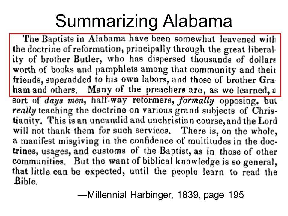 Summarizing Alabama Millennial Harbinger, 1839, page 195