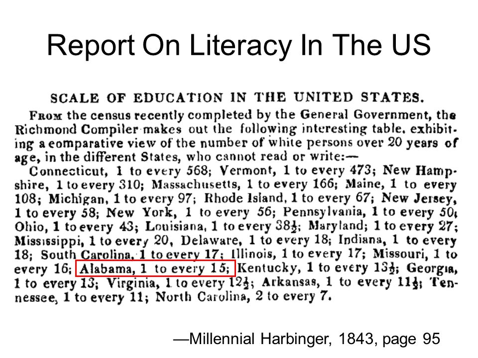 Report On Literacy In The US Millennial Harbinger, 1843, page 95