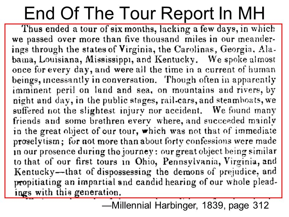 End Of The Tour Report In MH Millennial Harbinger, 1839, page 312