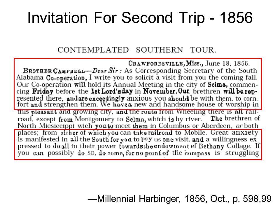 Invitation For Second Trip - 1856 Millennial Harbinger, 1856, Oct., p. 598,99