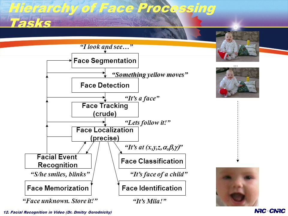 12. Facial Recognition in Video (Dr. Dmitry Gorodnichy) Hierarchy of Face Processing Tasks Something yellow moves Face Segmentation Facial Event Recog