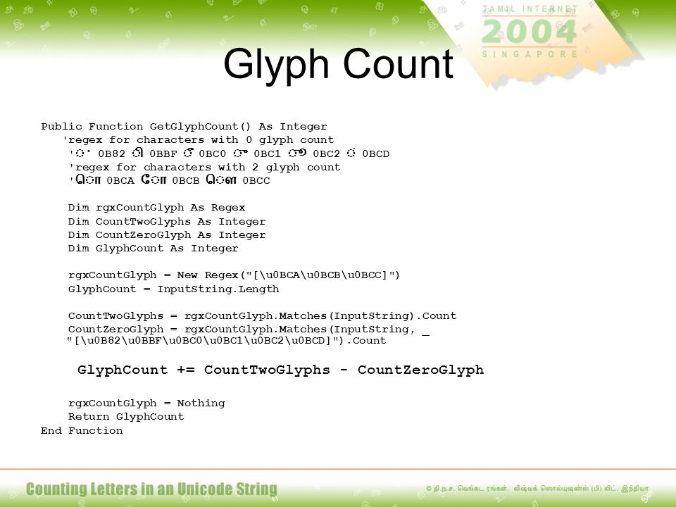 Glyph Count Public Function GetGlyphCount() As Integer 'regex for characters with 0 glyph count ' 0B82 0BBF 0BC0 0BC1 0BC2 0BCD 'regex for characters