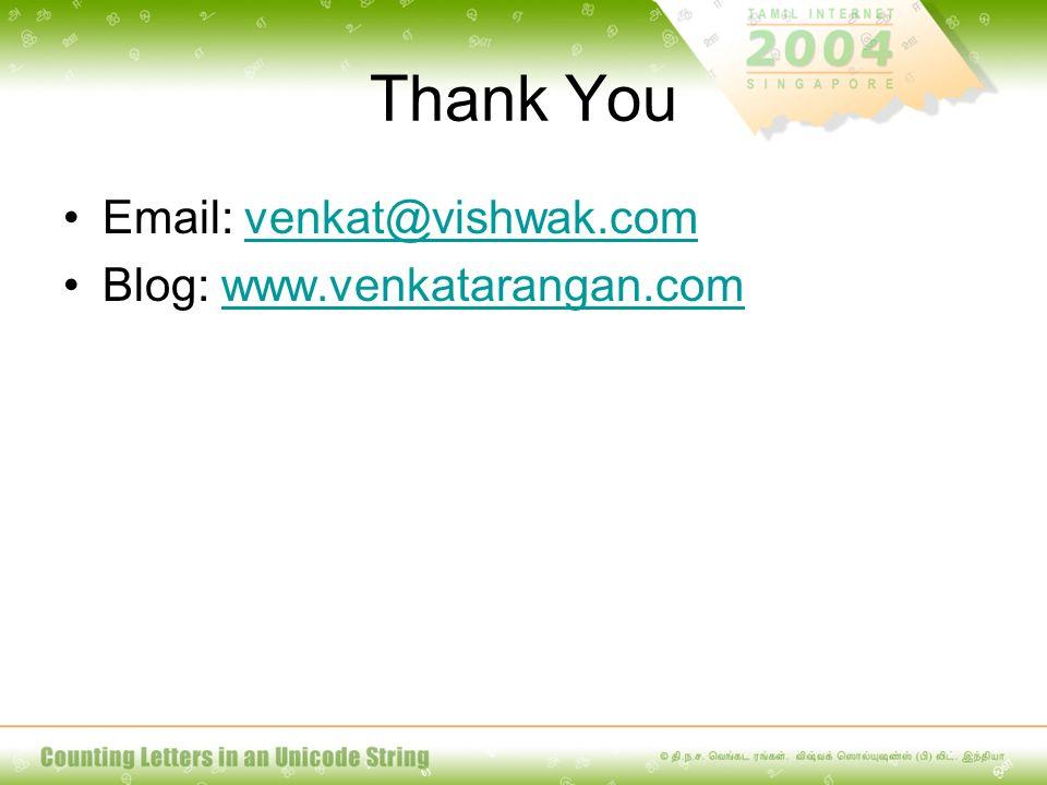 Thank You Email: venkat@vishwak.comvenkat@vishwak.com Blog: www.venkatarangan.comwww.venkatarangan.com