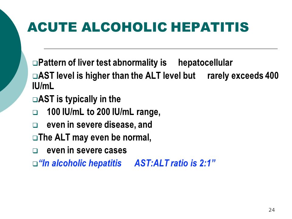 24 ACUTE ALCOHOLIC HEPATITIS Pattern of liver test abnormality is hepatocellular AST level is higher than the ALT level but rarely exceeds 400 IU/mL A
