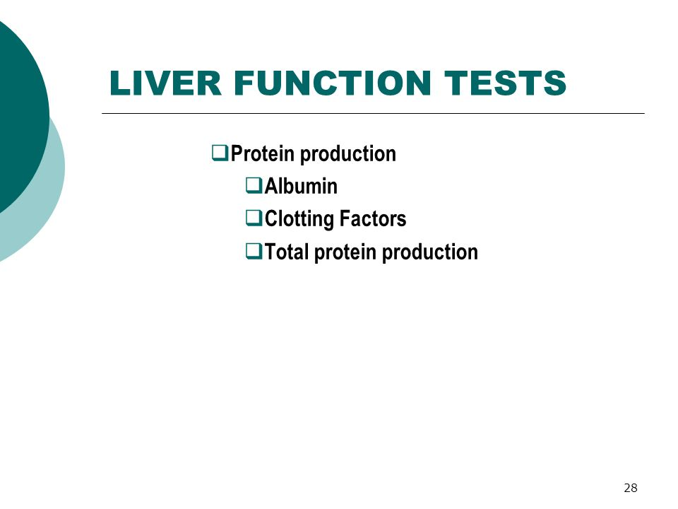 28 LIVER FUNCTION TESTS Protein production Albumin Clotting Factors Total protein production