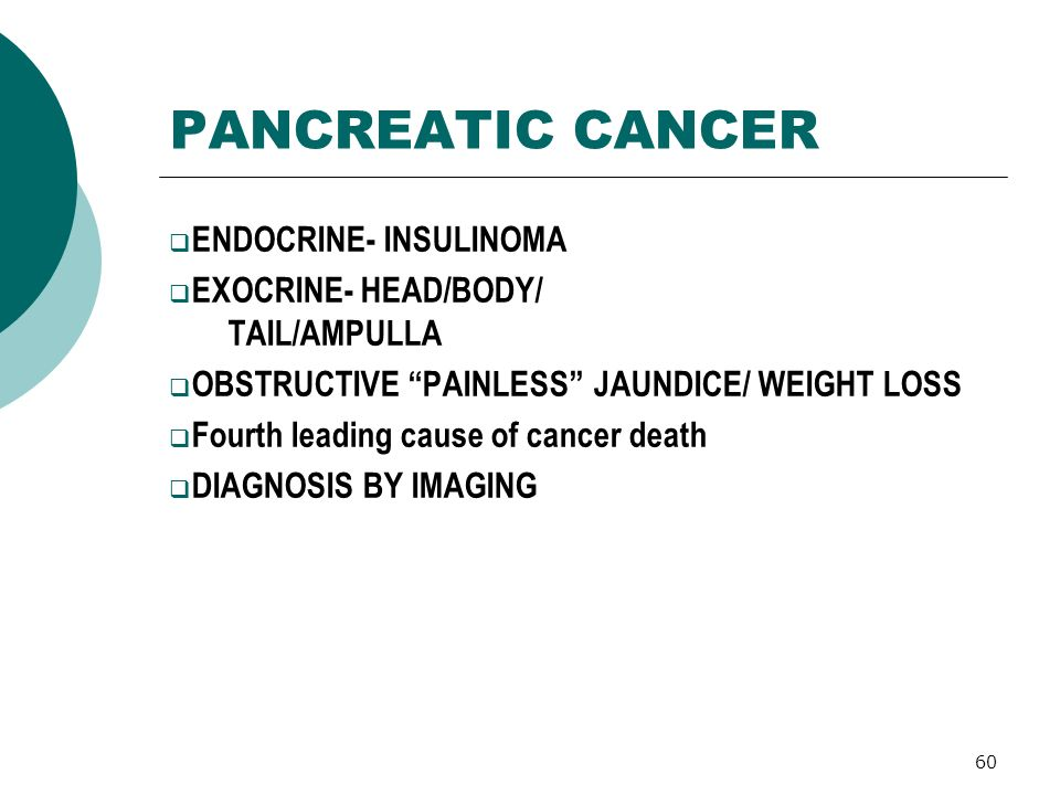 60 PANCREATIC CANCER ENDOCRINE- INSULINOMA EXOCRINE- HEAD/BODY/ TAIL/AMPULLA OBSTRUCTIVE PAINLESS JAUNDICE/ WEIGHT LOSS Fourth leading cause of cancer