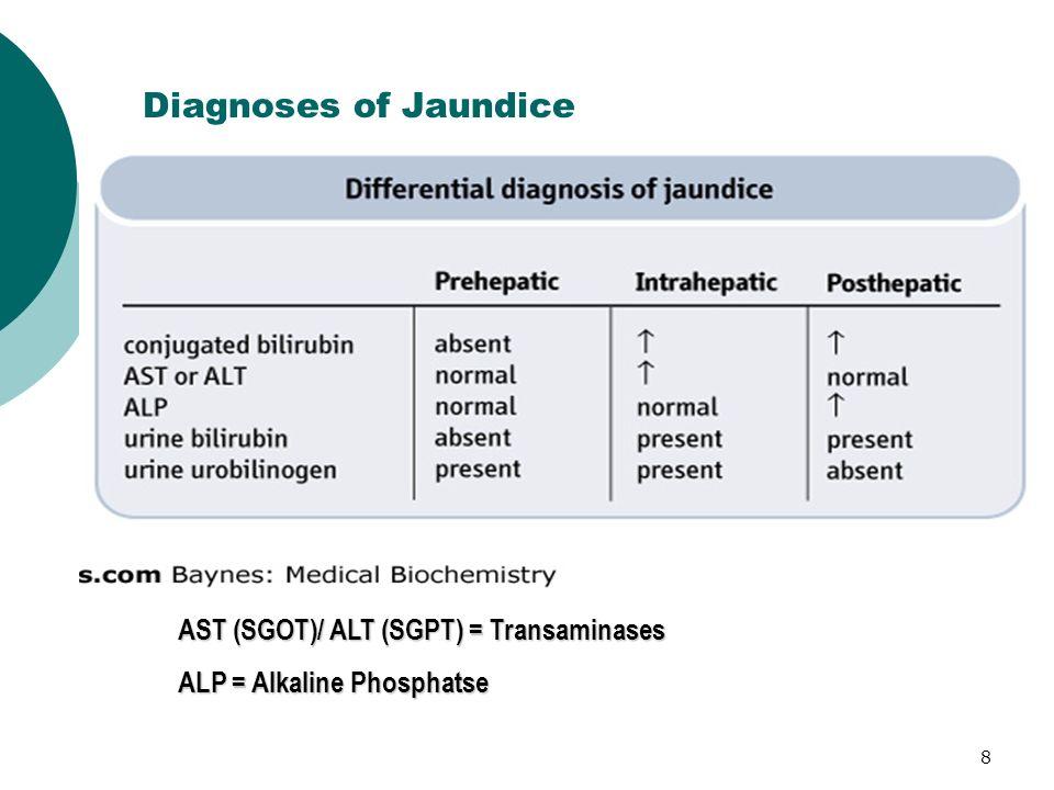 8 Diagnoses of Jaundice AST (SGOT)/ ALT (SGPT) = Transaminases ALP = Alkaline Phosphatse
