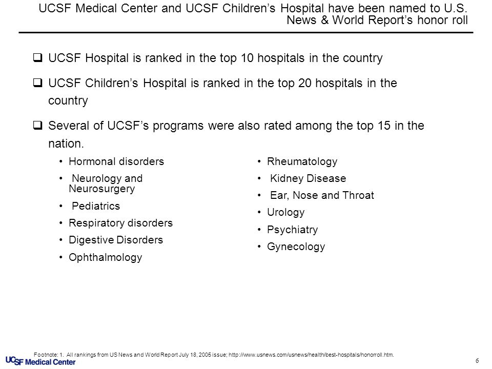 6 UCSF Medical Center and UCSF Childrens Hospital have been named to U.S. News & World Reports honor roll Hormonal disorders Neurology and Neurosurger
