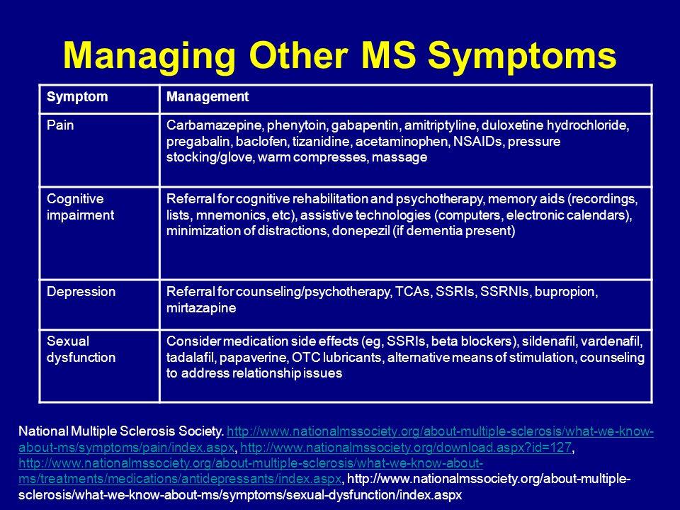 Managing Other MS Symptoms SymptomManagement PainCarbamazepine, phenytoin, gabapentin, amitriptyline, duloxetine hydrochloride, pregabalin, baclofen,