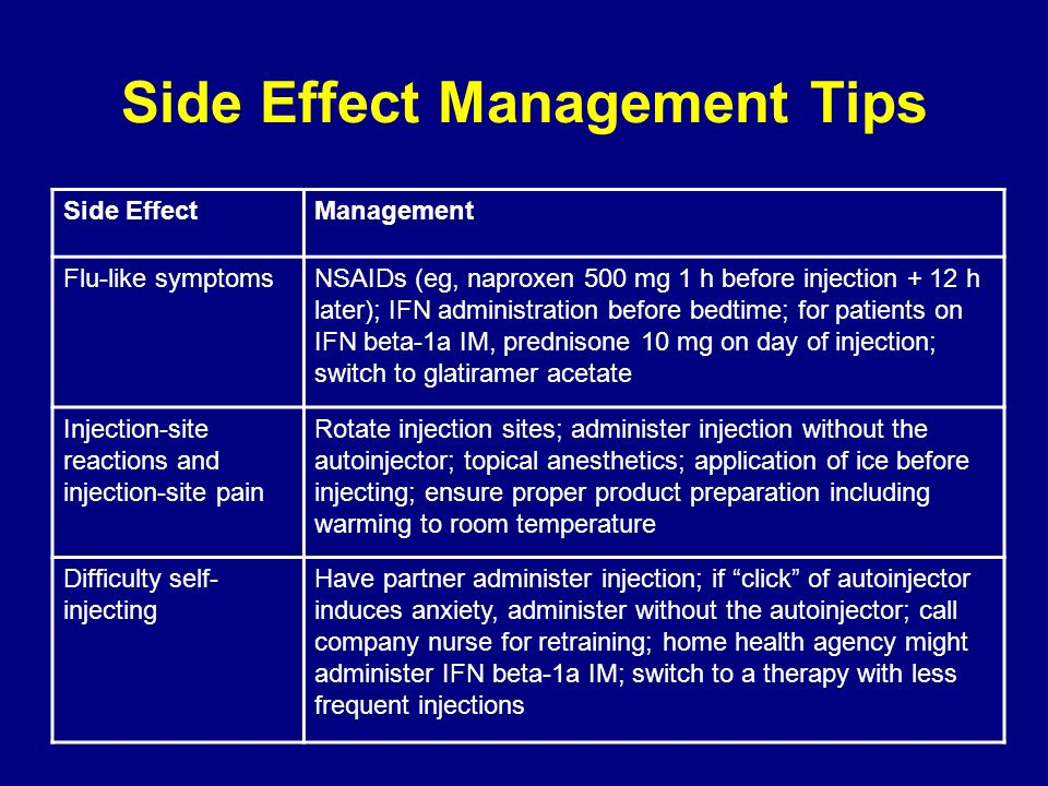 Side EffectManagement Flu-like symptomsNSAIDs (eg, naproxen 500 mg 1 h before injection + 12 h later); IFN administration before bedtime; for patients