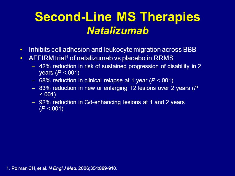 Second-Line MS Therapies Natalizumab Inhibits cell adhesion and leukocyte migration across BBB AFFIRM trial 1 of natalizumab vs placebo in RRMS –42% r
