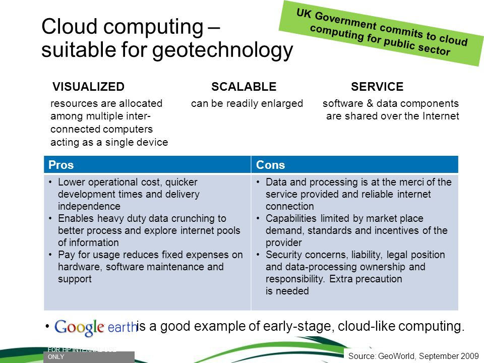 Cloud computing – suitable for geotechnology FOR HP INTERNAL USE ONLY UK Government commits to cloud computing for public sector is a good example of
