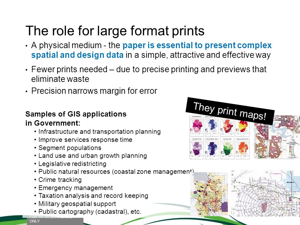 The role for large format prints A physical medium - the paper is essential to present complex spatial and design data in a simple, attractive and eff