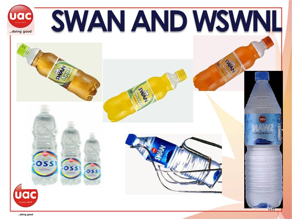 SWAN AND WSWNL 46 SWAN is the pioneer bottled water brand in Nigeria