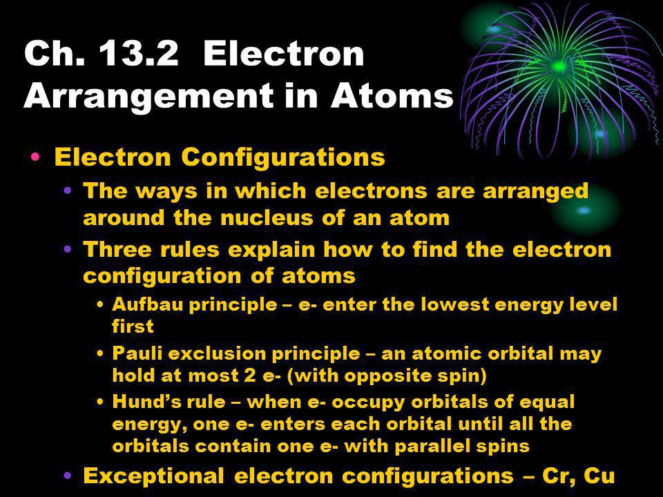 Ch. 13.2 Electron Arrangement in Atoms Electron Configurations The ways in which electrons are arranged around the nucleus of an atom Three rules expl