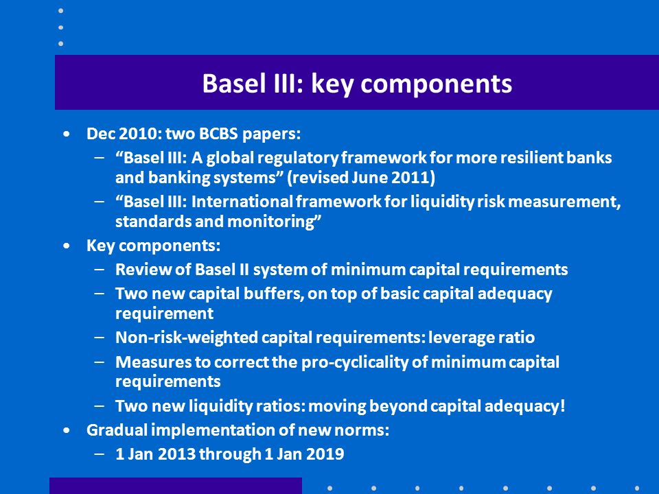 Basel III: key components Dec 2010: two BCBS papers: –Basel III: A global regulatory framework for more resilient banks and banking systems (revised J