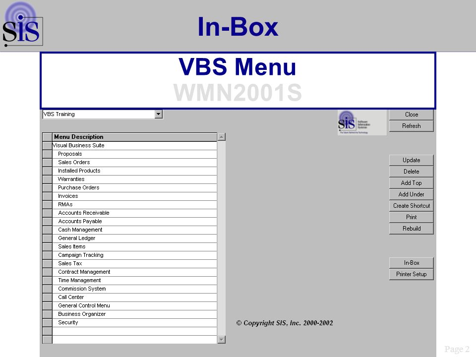In-Box VBS Menu WMN2001S Page 2