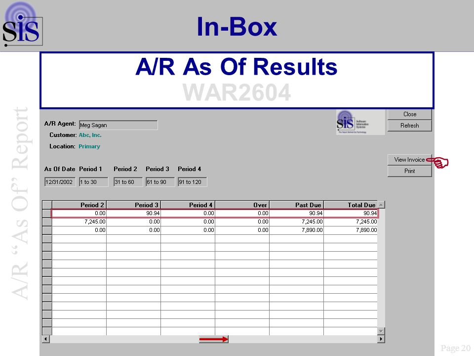In-Box A/R As Of Results WAR2604 Page 20 A/R As Of Report