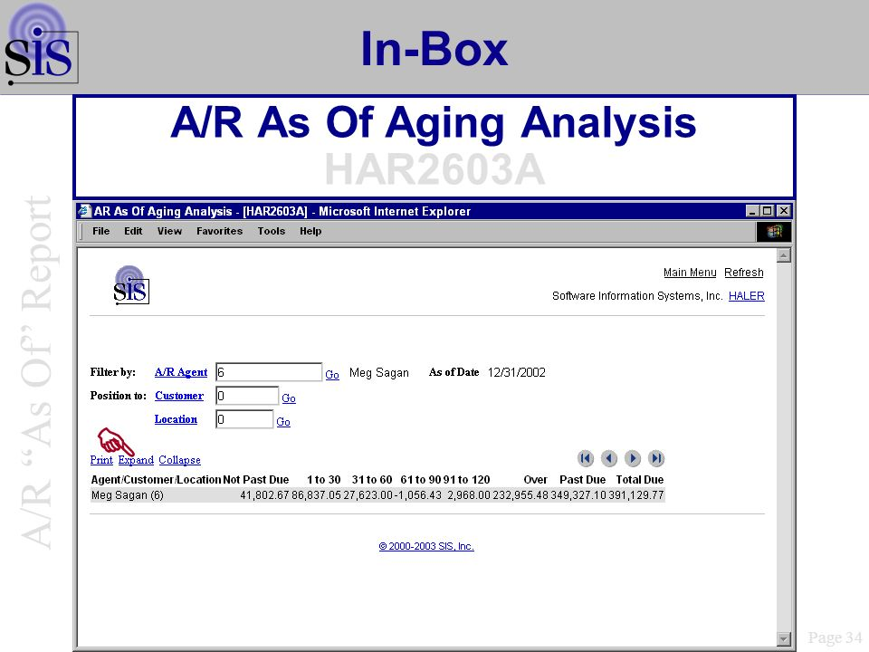 In-Box A/R As Of Aging Analysis HAR2603A Page 34 A/R As Of Report