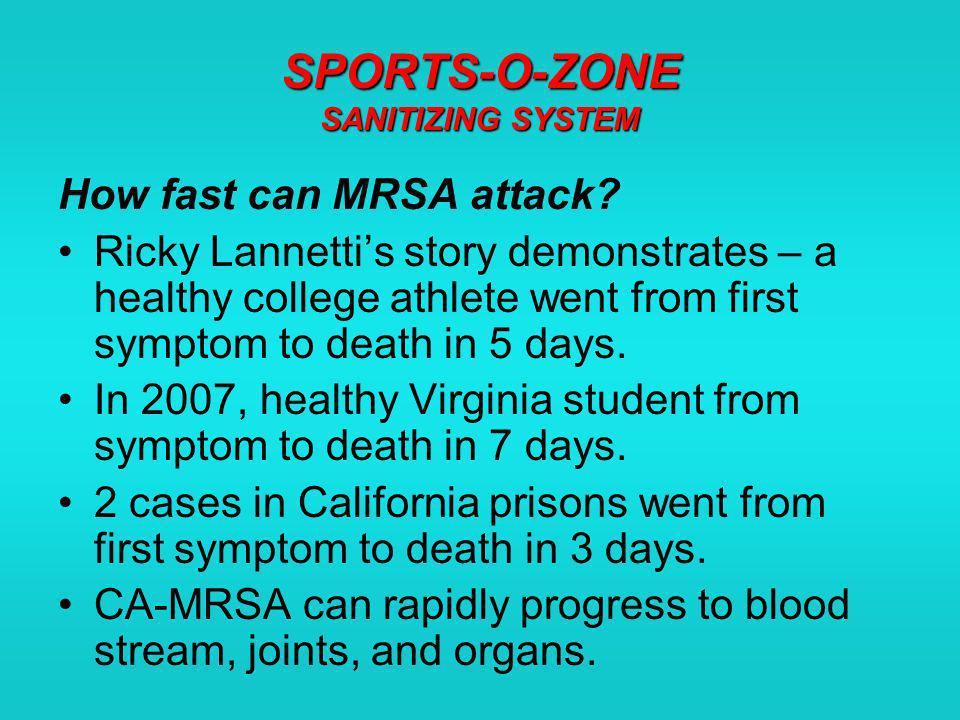 SPORTS-O-ZONE SANITIZING SYSTEM Equipment: Helmets, shoulder pads, leg braces, shin guards, shoes, headgear, etc.