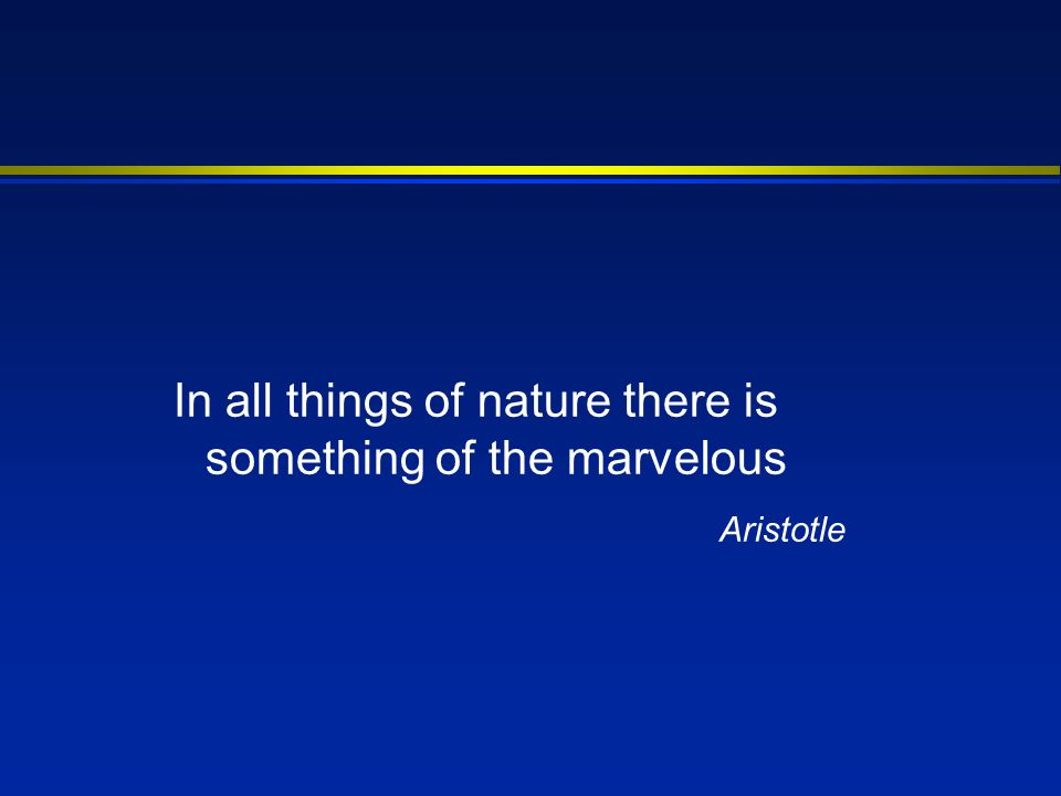 In all things of nature there is something of the marvelous Aristotle