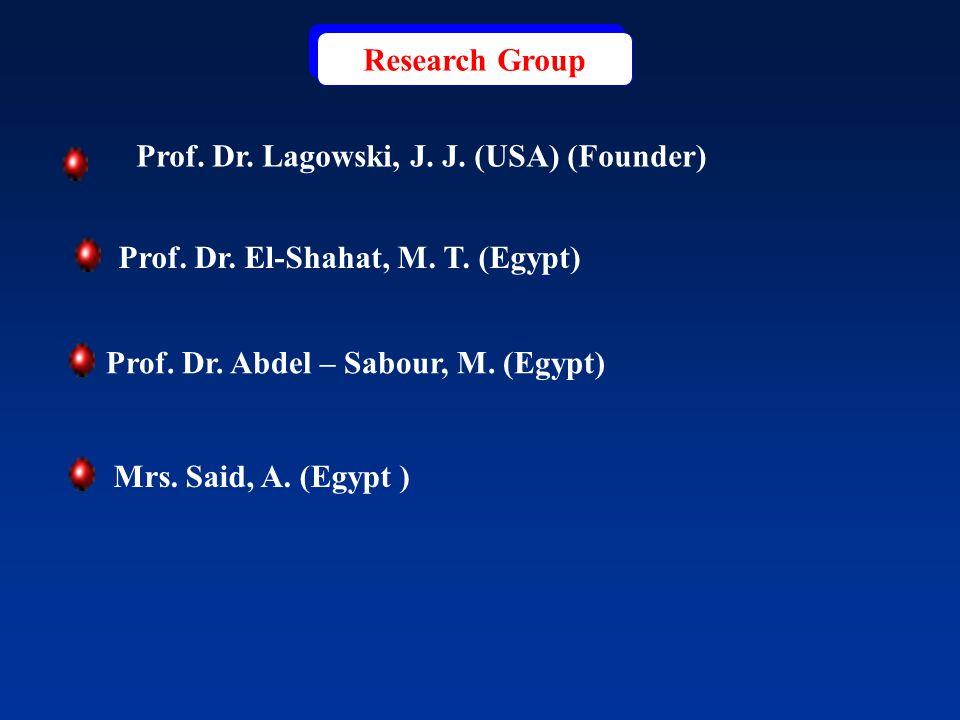 Research Group Prof. Dr. El-Shahat, M. T. (Egypt) ) Mrs. Said, A. (Egypt Prof. Dr. Lagowski, J. J. (USA) (Founder) Prof. Dr. Abdel – Sabour, M. (Egypt