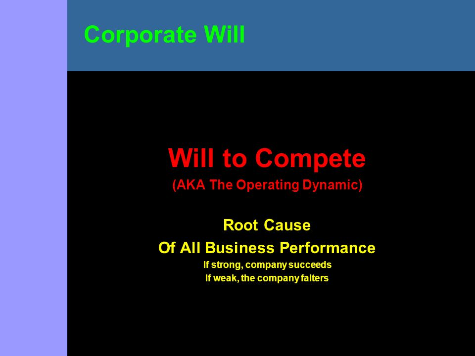 Will to Compete (AKA The Operating Dynamic) Root Cause Of All Business Performance If strong, company succeeds If weak, the company falters Corporate Will
