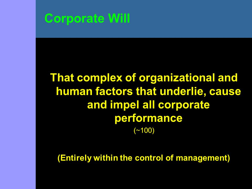 That complex of organizational and human factors that underlie, cause and impel all corporate performance (~100) (Entirely within the control of management) Corporate Will