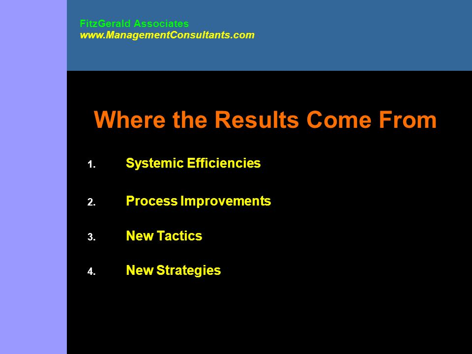 Where the Results Come From 1. Systemic Efficiencies 2. Process Improvements 3. New Tactics 4. New Strategies FitzGerald Associates www.ManagementCons