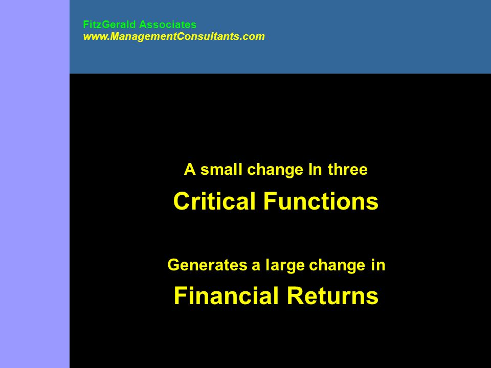 A small change In three Critical Functions Generates a large change in Financial Returns FitzGerald Associates www.ManagementConsultants.com