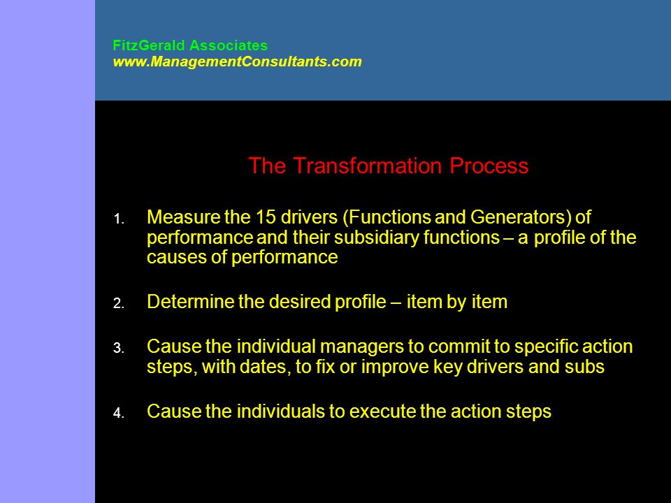 FitzGerald Associates www.ManagementConsultants.com The Transformation Process 1. Measure the 15 drivers (Functions and Generators) of performance and