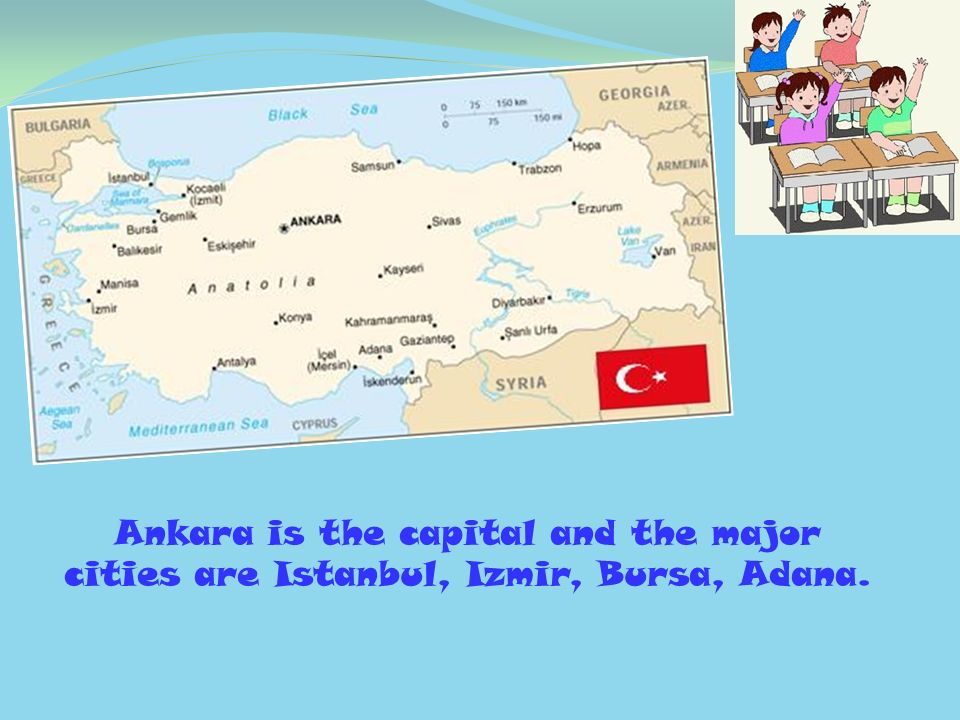 Ankara is the capital and the major cities are Istanbul, Izmir, Bursa, Adana.