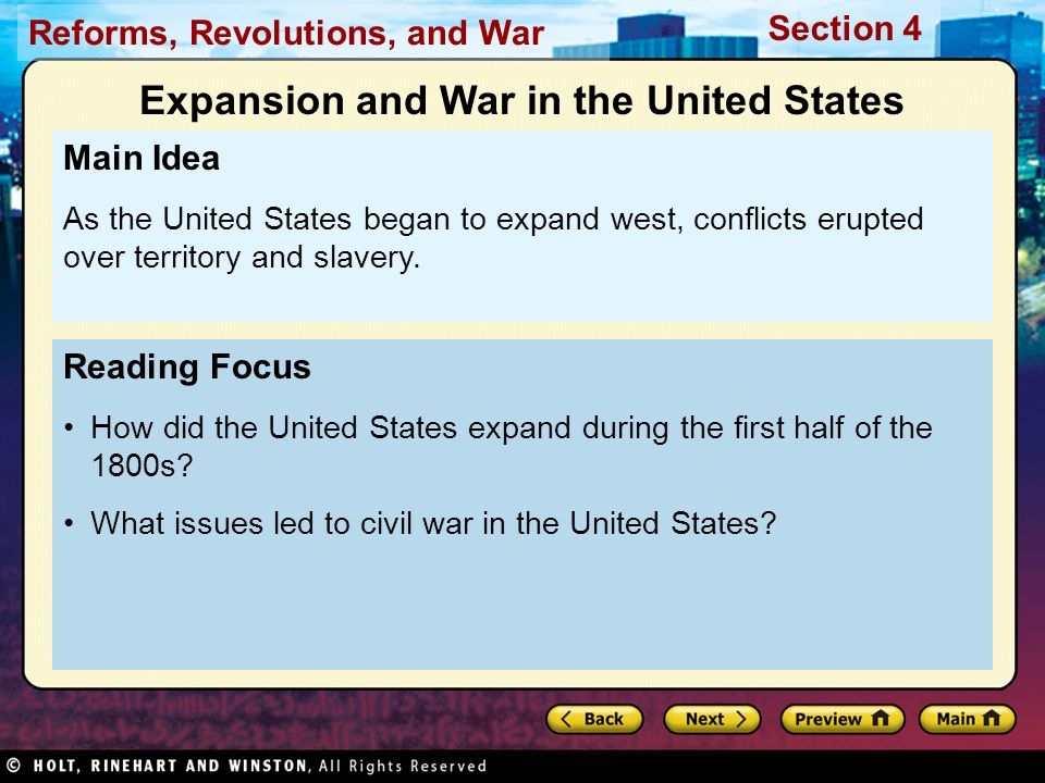 Reforms, Revolutions, and War Section 4 In 1803 the U.S.