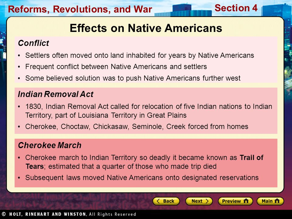 Reforms, Revolutions, and War Section 4 Conflict Settlers often moved onto land inhabited for years by Native Americans Frequent conflict between Nati