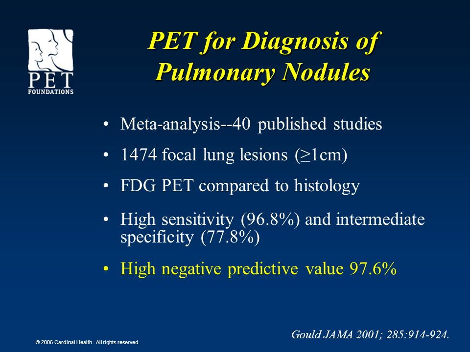 © 2006 Cardinal Health. All rights reserved. PET for Diagnosis of Pulmonary Nodules Meta-analysis--40 published studies 1474 focal lung lesions (1cm)