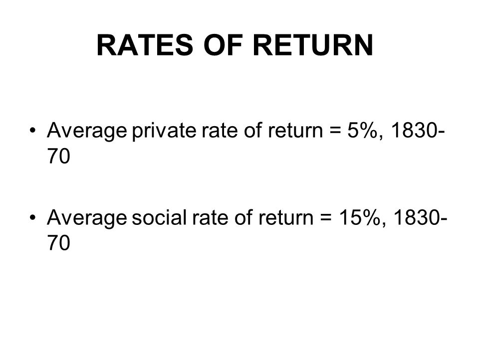 RATES OF RETURN Average private rate of return = 5%, Average social rate of return = 15%,