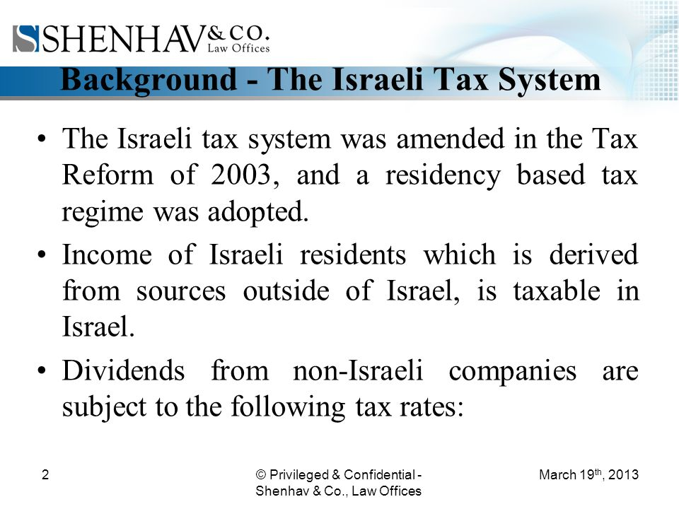 © Privileged & Confidential - Shenhav & Co., Law Offices 2 Background - The Israeli Tax System The Israeli tax system was amended in the Tax Reform of 2003, and a residency based tax regime was adopted.