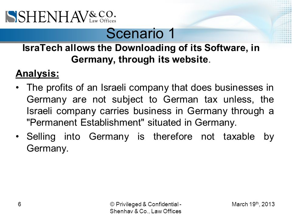 © Privileged & Confidential - Shenhav & Co., Law Offices 6 Scenario 1 IsraTech allows the Downloading of its Software, in Germany, through its website.