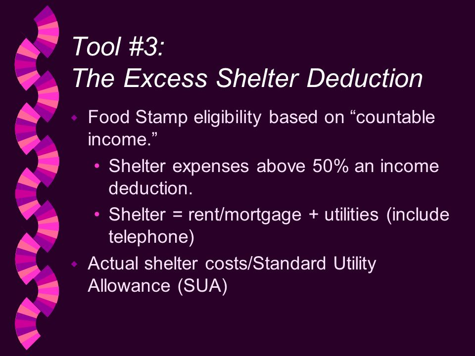 Tool #3: The Excess Shelter Deduction w Food Stamp eligibility based on countable income.