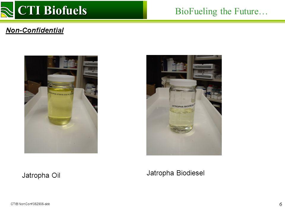 CTI Biofuels BioFueling the Future… Non-Confidential CTI Biofuels CTIB NonConf 062906-sbb 6 Jatropha Oil Jatropha Biodiesel