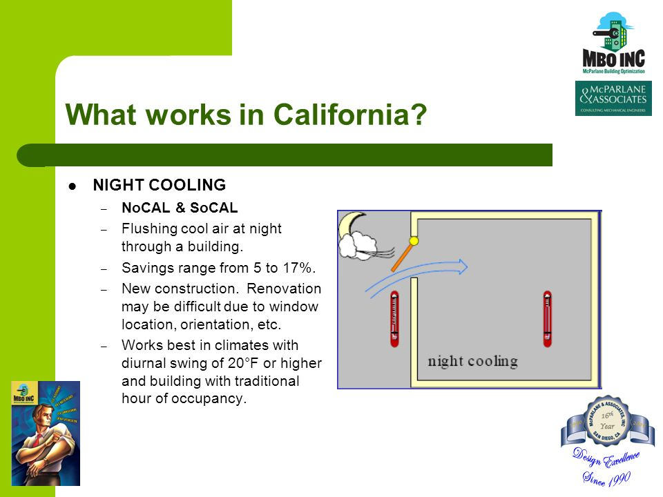 What works in California? NIGHT COOLING – NoCAL & SoCAL – Flushing cool air at night through a building. – Savings range from 5 to 17%. – New construc