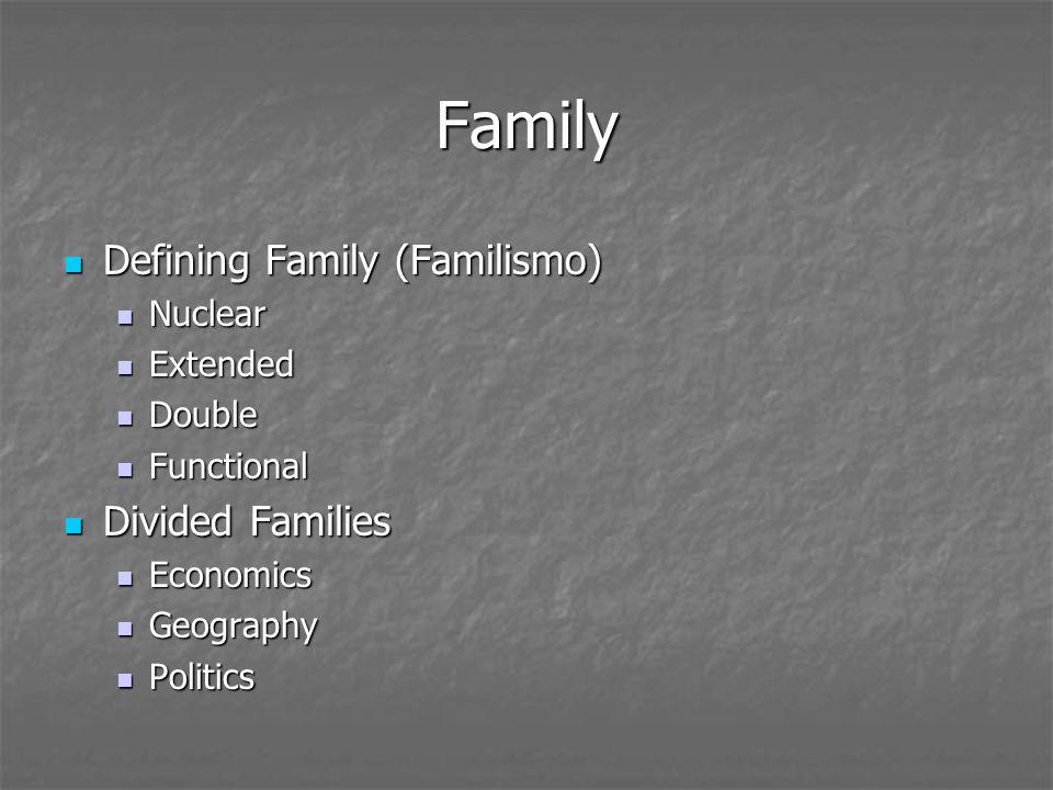 Family Defining Family (Familismo) Defining Family (Familismo) Nuclear Nuclear Extended Extended Double Double Functional Functional Divided Families Divided Families Economics Economics Geography Geography Politics Politics