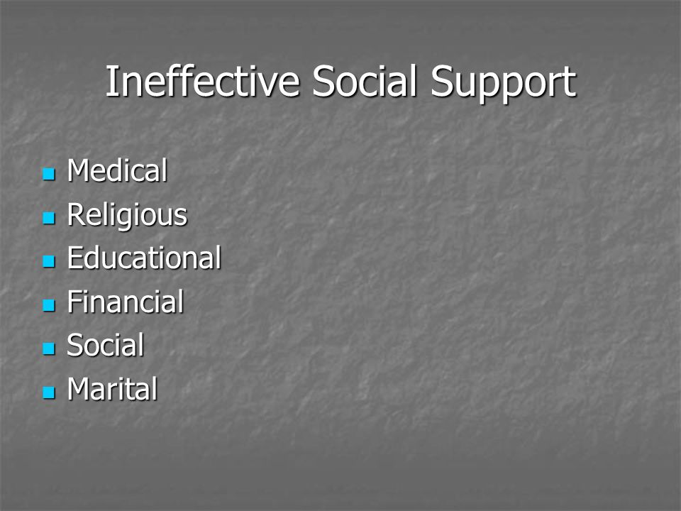 Ineffective Social Support Medical Medical Religious Religious Educational Educational Financial Financial Social Social Marital Marital