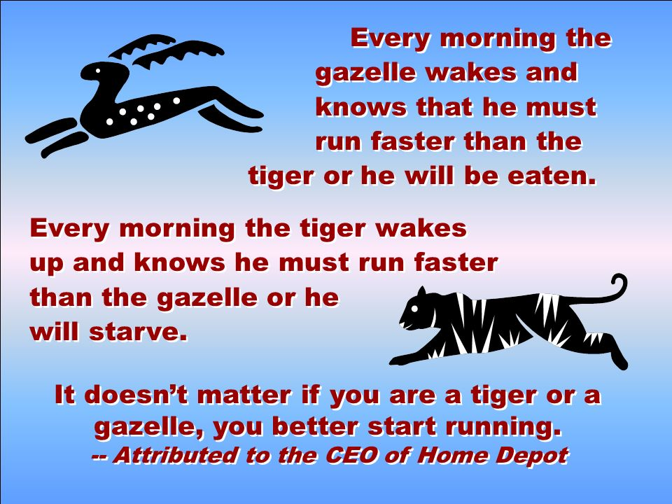 Every morning the gazelle wakes and knows that he must run faster than the tiger or he will be eaten.